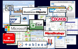 All major visualization tools: Cognos, BusinessObjects, Microsoft Power BI, Excel, OBIEE BI Publisher, Tableau, MicroStrategy, R and more